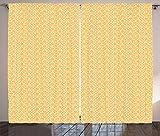 ABAKUHAUS Escamas De Pescado Cortinas, Piel De Animal Exótico, Estampa Nîtida Digital Lavable Set de Dos Paños, 280 x 260 cm, Mostaza Y Negro
