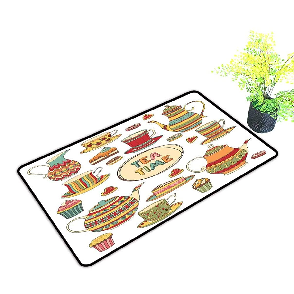Outdoor Doormat Tea Party Tea Time Cartoon Set with Donuts Cake Slices Cupcakes Breakfast Get Together W35 xL47 Easy to Clean Multicolor mg53907770899