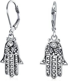 Hamsa Hand Of God Floral Filigree Leverback Dangle Earrings For Women For Teen Oxidized 925 Sterling Silver