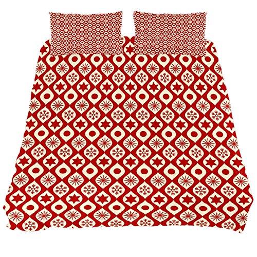 267 JlOn Microfiber Kid Bedding Set Christmas Geometry Red Pattern 3 Pieces JlOn Microfiber Duvet Cover Sets Boys and Girls King