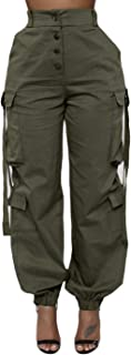 Women's Casual Loose Elastic Buttons Down Cargo Pants with Stretch Twill Pockets