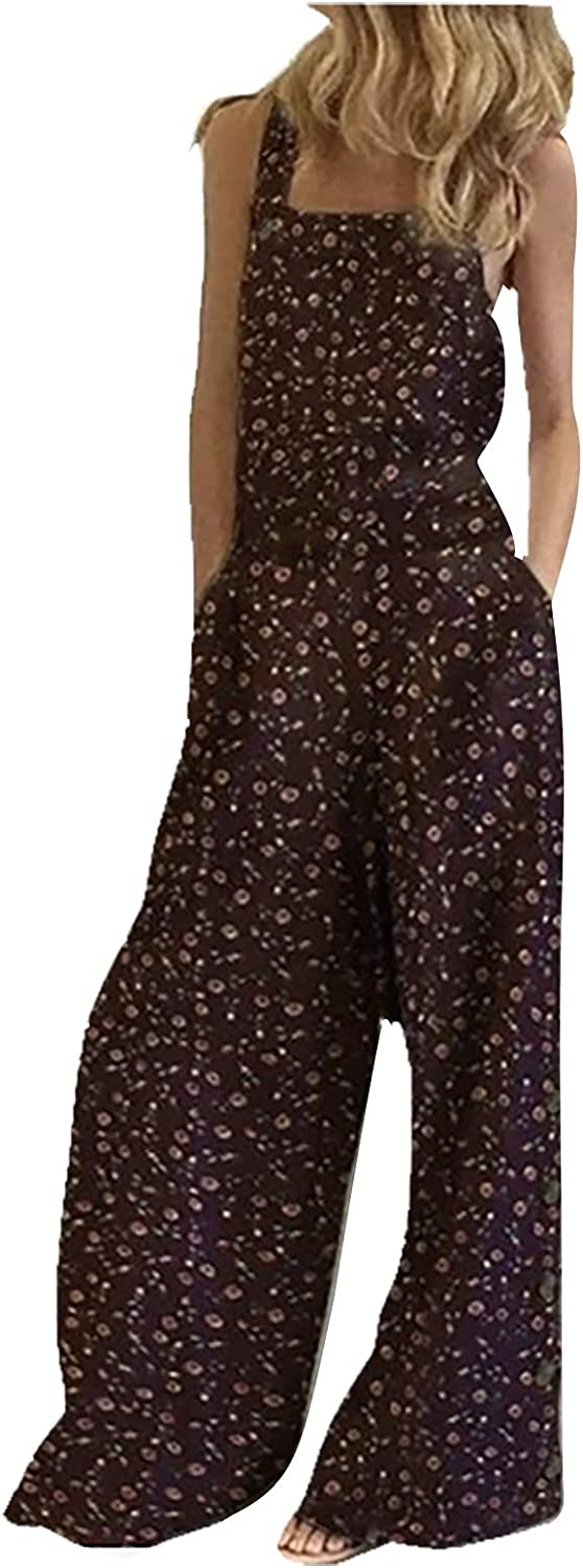 ODJOY-FAN Women's Small Floral Print Side Pockets Loose Sleeveless Straps Pants Comfy Cocktail Summer Jumpsuit Rompers