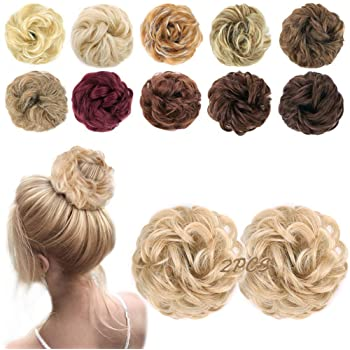 MORICA 2PCS Messy Hair Bun Extensions Curly Wavy Messy Synthetic Chignon Hairpiece Scrunchie Scrunchy Updo Hairpiece for women(Color:22/613#)