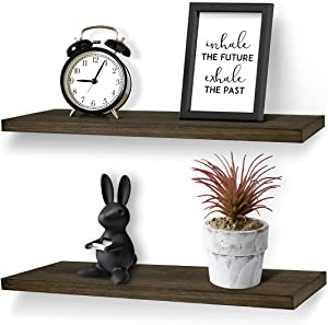 Wood Floating Shelves Wall Mounted Picture Ledge Display Shelf Storage Rack Organizer Bookshelf Set of 2 Small Rustic Wooden Shelves Wall Décor for Living Room Bedroom Bathroom Office (Deep Grey)