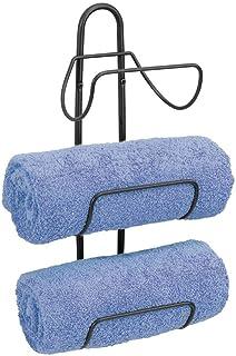 mDesign porte-serviette mural en métal – porte-serviettes avec 3 supports de rangement aussi pour WC invités – accessoire ...