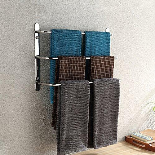 LONFENNE Porte-Serviettes Contemporain 3 Bars Miroir Poli Finition 304 INOX Mur de Salle debains chromé,60 × 13 × 32cm(23,6 × 5,1 × 12,6 Pouces)
