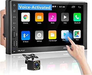 """$128 » Sponsored Ad - Android Car Stereo Double Din with Intelligent Voice Activated 7"""" Touchscreen Car Navigation Head Unit with..."""
