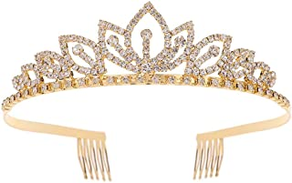 Princess Crystal Tiara Crown with Comb Women Girls Cosplay Party Queen Bridal Wedding Hair Jewelry Headband (Diameter :5.5'') (Gold)