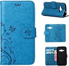 J1 2016 Case, Galaxy Amp 2 Case, Galaxy Express 3 Case, Harryshell(TM) Butterfly Flower PU Wallet Leather Protective Case Cover with Card Slots for Samsung Galaxy J1 2016 / Amp 2 / Express 3 (Blue)