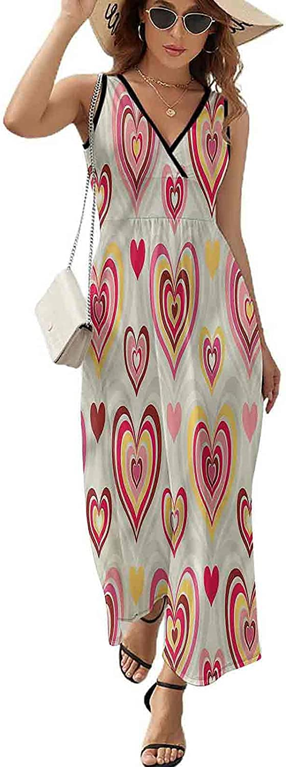 SUZM Max 53% OFF Beach Party Sleeveless Long Retro Dress Hearts Valentine Super sale period limited Dr