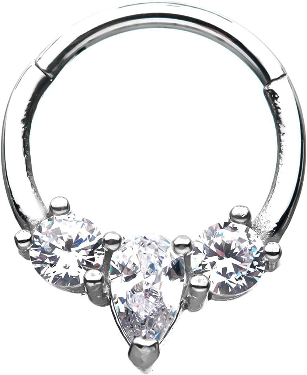 Denver Mall 16G Three Clear CZ Crystal Stainless Center Hinged Steel Choice Segment