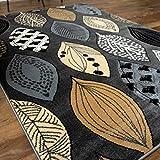 北欧風 かわいい リーフ柄 ラグ モダンリーフ 133x190 cm 1.5畳 グレー ウィルトン織