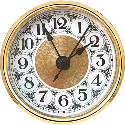 HILLHOME Mini Quartz Clock Insert 2.8 Inch (70 mm) Round Quartz Movement Miniature Clock White Dial Gold Trim Arabic Numerals, Fit 2.4 Inch (61 mm) Diameter Hole