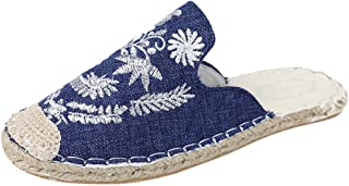 ❥Women's Round Head Embroidery Flat Espadrilles Slip On Shoes Lazy Shoes Summer Close Toe Slippers Linen Shoes