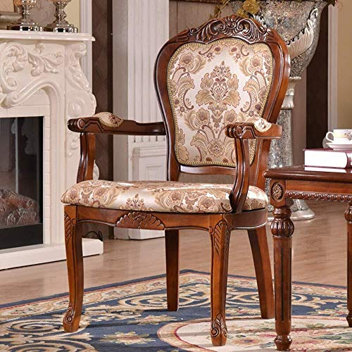 CKQ-KQ - Sillas de comedor de madera maciza, sillón tallado, estilo rústico, fácil de montar, apto para sala de estar, 2 piezas (color marrón, tamaño: 50 x 58 x 106 cm) para silla de hogar