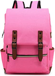Fashion Vintage Laptop Backpack Women Canvas Men Travel Leisure Retro Casual School Bags For Teenager,Pink