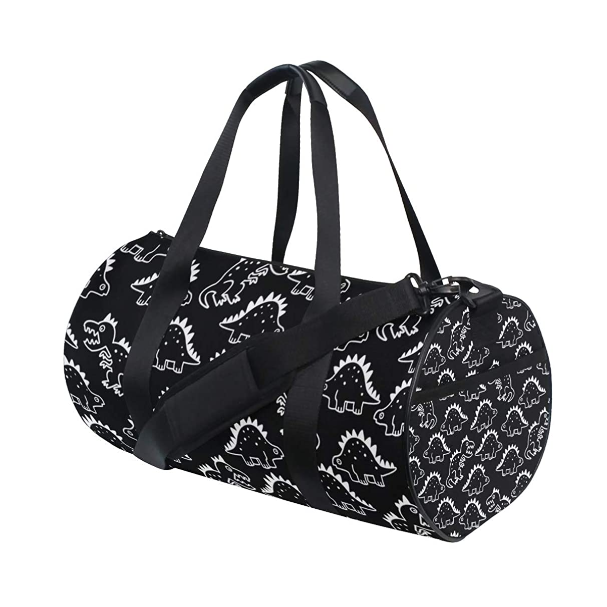 YCHY Cartoon-Dino-Chalkboard-Seamless-Repeat-Wallpaper-222176899 Barrel Duffel Bag Sports Yoga Gym Fitness Bag Travel Weekender Bags for Men and Women