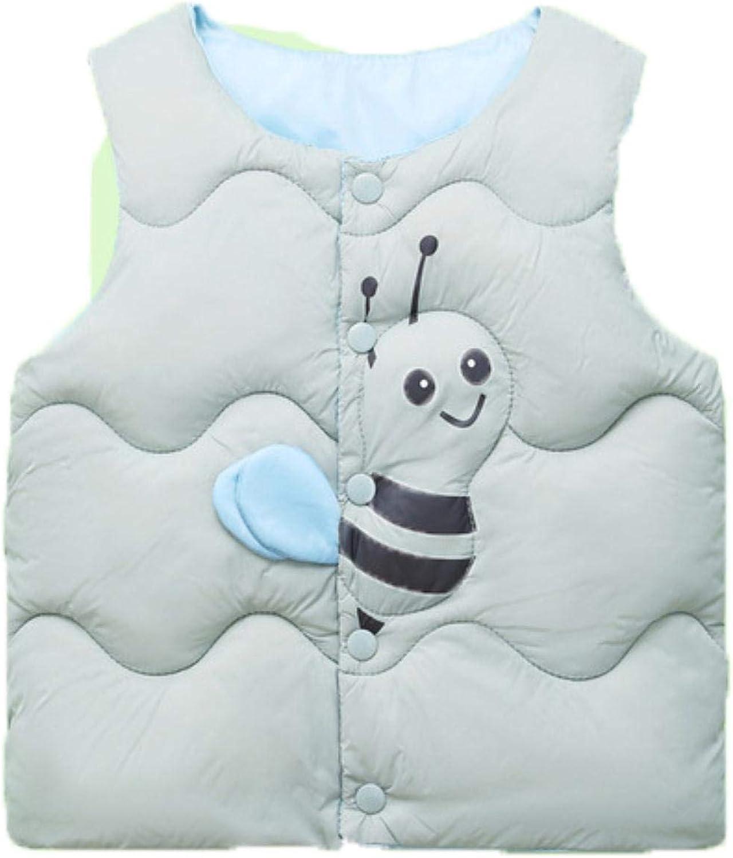 Girls Cotton Vest Autumn Kids Boys Sleeveless Jacket Child Baby Girls Coat ,gray,7T