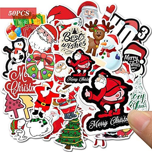 Yisscen Pacchetto Adesivi Graffiti, 50 Pezzi Adesivi in Vinile Impermeabili, per Natale, Halloween, Feste, Graffiti per Auto, Moto, Borraccia, Decalcomanie per Feste Fai-da-Te