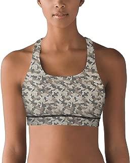 Grey Classic Camo Strappy Padded Sports Bra, Yoga Bra for Women