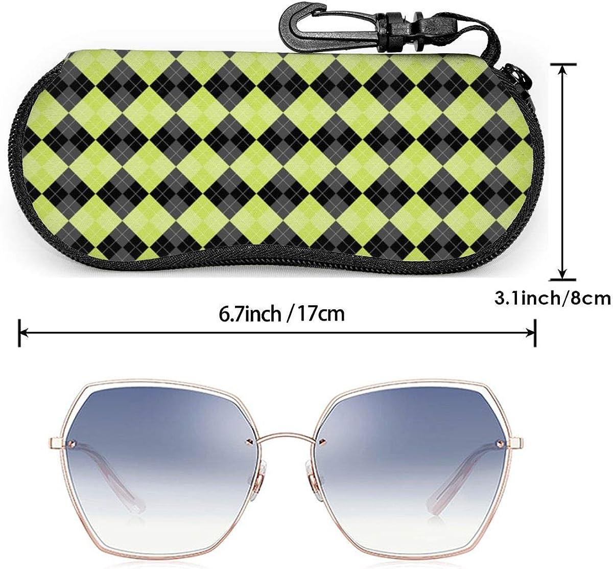 Sunglasses Soft Case Ultra Light Neoprene Zipper Eyeglass Case With Key Chain Bathroom Pattern