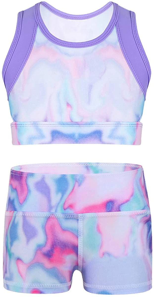 dPois Kids Girls Two-Pieces Sports Gym Dance Workout Outfits Colorful Sleeveless Tie-Dye Crop Top with Boy Cut Shorts Set