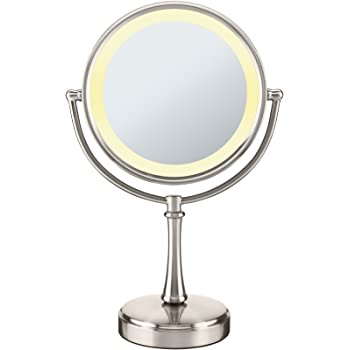 Conair Reflections 3-Way Touch Control Lighted Makeup Mirror, 1x/8x magnification, Satin Nickel