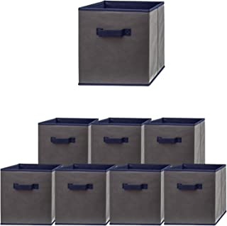 Pomatree Fabric Storage Bins - 8 Pack - Durable and Sturdy Storage Cubes with 2 Reinforced Handles | Foldable Baskets for Organizing Closet, Clothes and Toys | Cube Shelves Organizer (Navy/Grey)