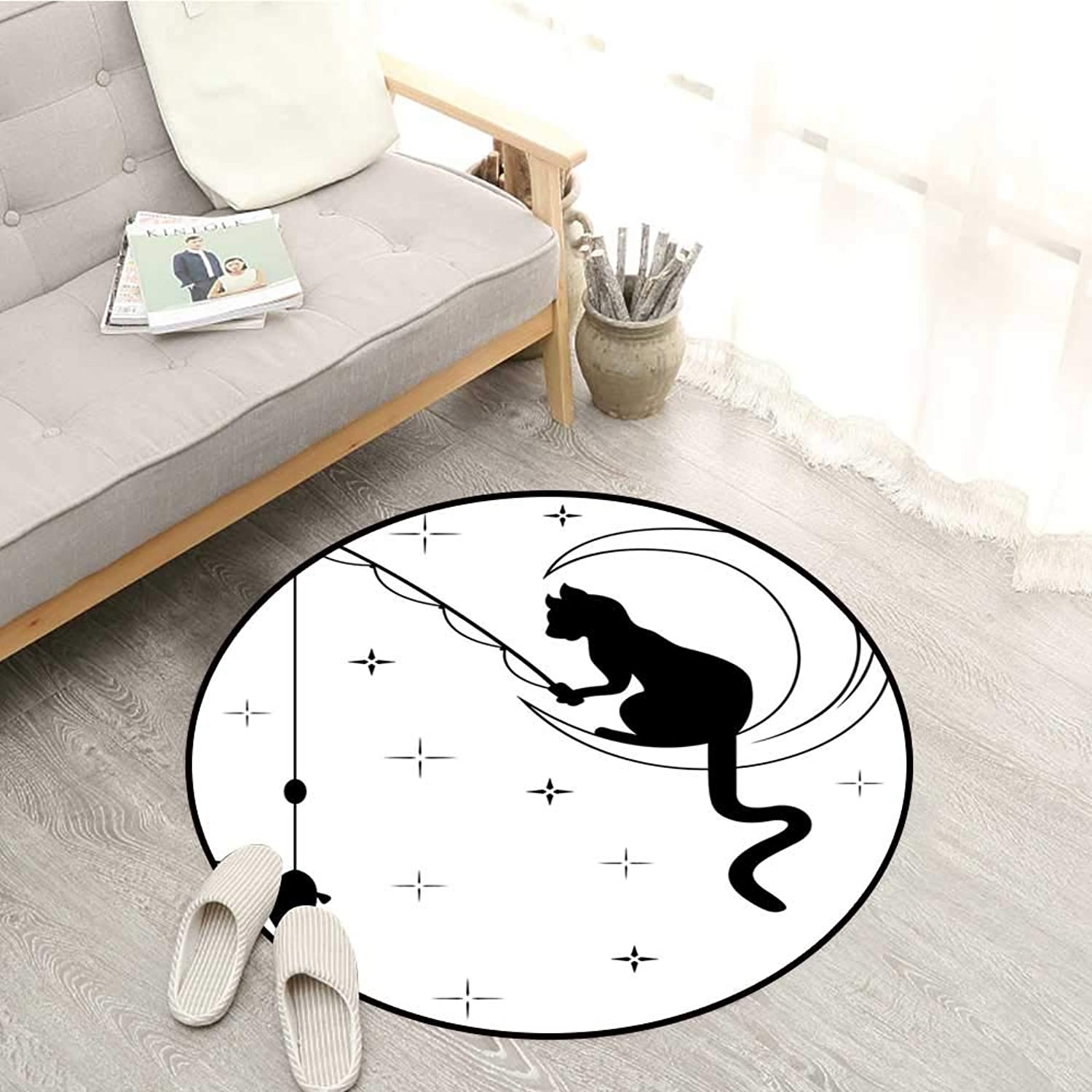 Modern Non-Slip Rugs Cat Fishing with Long Tail Sitting on The Moon Among Starry Sky Humor Sketch Art Sofa Coffee Table Mat 4'3  Black White