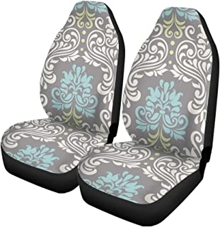 Pinbeam Car Seat Covers Blue Modern Floral Colorful Damask Pattern Swirl Abstract Border Set of 2 Auto Accessories Protectors Car Decor Universal Fit for Car Truck SUV
