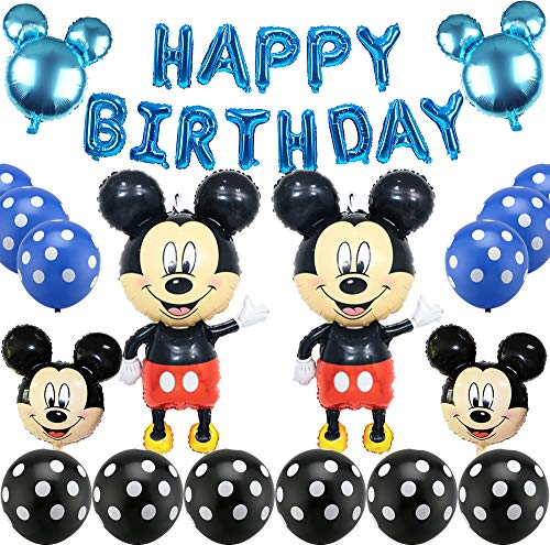 Mickey Mouse Themed Decoraciones de Fiesta, Mickey Party Globos Artículos de Fiesta de Mickey y Minnie para Fiestas de Cumpleaños Decoraciones