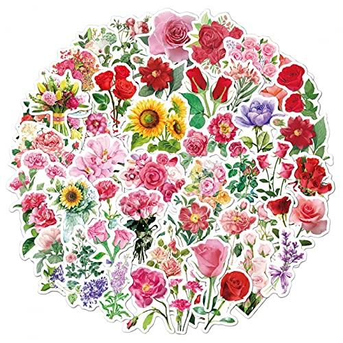 51 piezas de pegatinas florales impermeables son hermosas. Las pegatinas de flores son adecuadas para computadoras portátiles y maletas de viaje de teléfonos móviles, adecuadas para adolescentes.