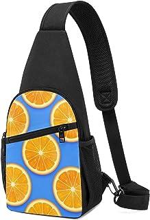 Bolsa de hombro de color naranja fresco, patrón sin costuras, ligera, mochila para el pecho, bolsa cruzada, bolsas de viaj...