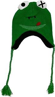 Bioworld Frog Wink Plush Eyes W/ Loop Embroidered Knit Laplander Hat