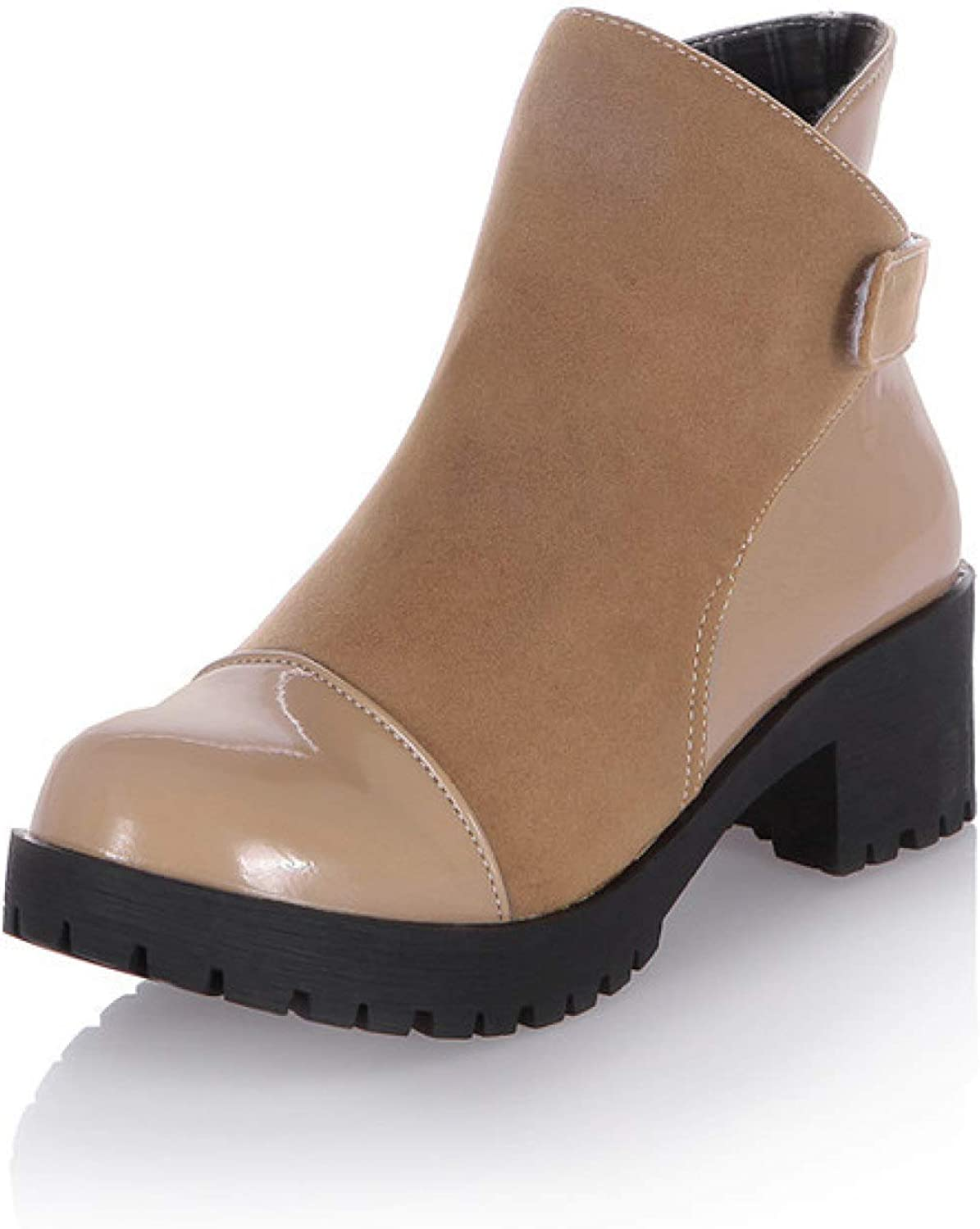 Women's Ankle Boots Slip on Chunky Stacked Heel Fash Seattle Mall Max 81% OFF Booties Mid