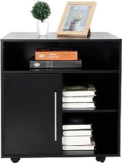 Caisson de Bureau, Armoire d'Imprimante, Classeur Latéral Mobile, Support d'Imprimante avec Étagères de Rangement Ouvertes...