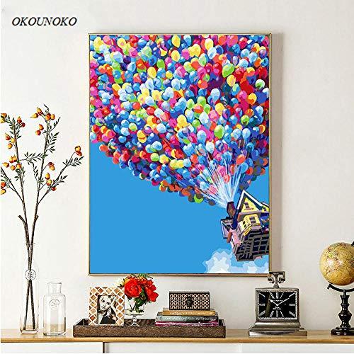 OKOUNOKO Pintura por Conjunto Digital, Colorido Globo Aerostático, Cuadro para Colorear Lienzo, Decoración del Hogar, Sin Marco, 60X90Cm