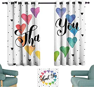 Mannwarehouse Romantic Decor Polyester Curtain Thank You Note with Rainbow Like Colored Round Made from Hearts Cute Image Privacy Protection 72
