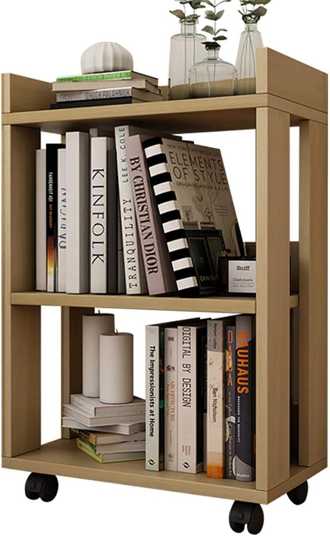 Small Wooden Small Bookshelf Bookcase Floor Creative Belt Wheel Removable Simple Rack