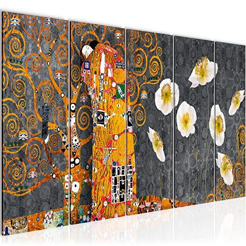 Bilder Gustav Klimt der Kuss Wandbild 150 x 60 cm Vlies - Leinwand Bild XXL Format Wandbilder Wohnzimmer Wohnung Deko Kunstdrucke Gelb 5 Teilig - MADE IN GERMANY - Fertig zum Aufhängen 021556c