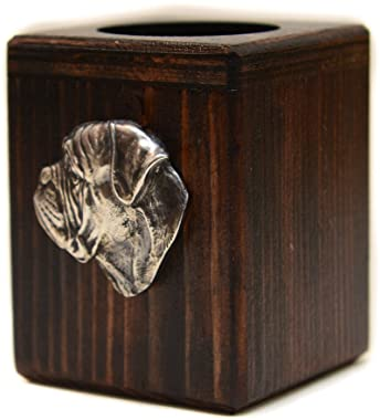 Bullmastiff, wooden candlestick with dog, limited edition, ArtDog