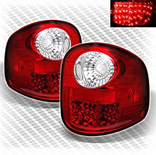 For 97-03 Ford F150 Flareside LED Red Clear Tail Lights Rear Brake Lamps Pair Left+Right
