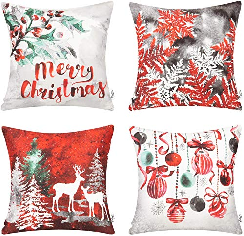 Ashler Christmas Throw Pillow Covers Red & Winter Decorative 18 x 18 inches, Pack of 4, Pillowcases Cotton Printing Christmas Tree Reindeer Series