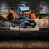 Yumeng® - 5 Piezas Cuadro sobre Lienzo De Fotos 2020 BMW x6 m Concurso Coche Lienzo Impresión Cuadros Decoracion Salon Cuadros para Dormitorios Modernos Mural Pared Listo para Colgar | 100x55cm