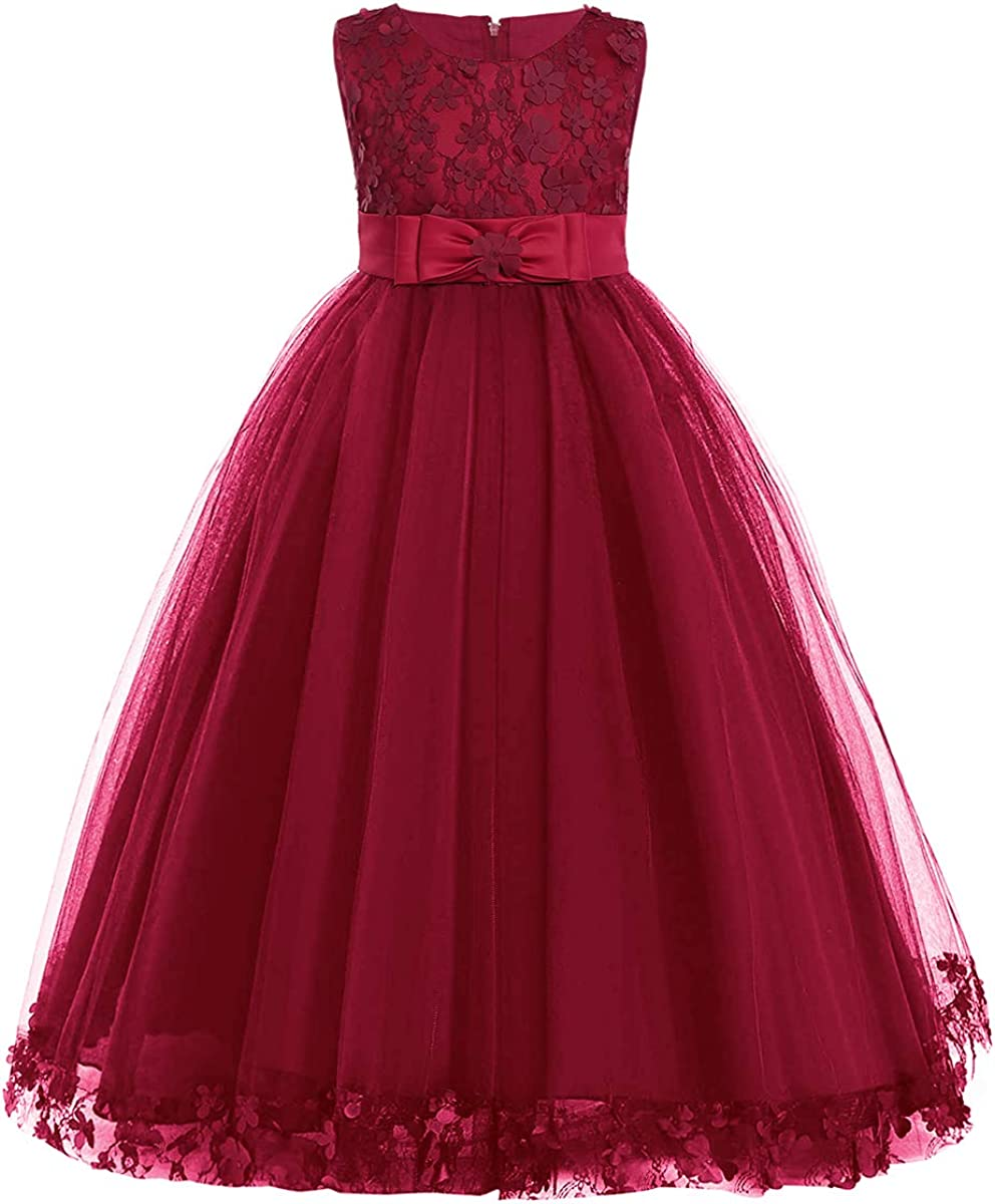 Flower Credence Girls Wedding Bridesmaid Dresses Embroidery Lace Tulle Pa All items free shipping