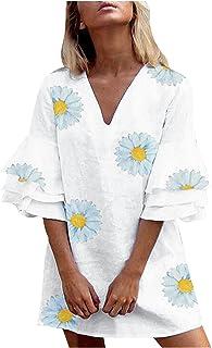 Minivestido feminino de verão com decote em V, manga rodada, listras de bolo, vestido de praia vintage, Branco, XXG