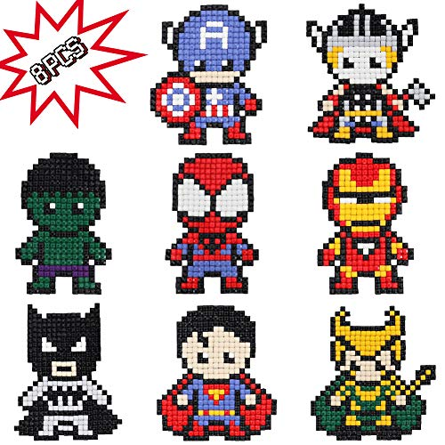 8X Super Hero 5D Diamond Painting Kit, Avenger Series Full Square Drill Kits Rhinestone Mosaic Making DIY Paint by Numbers Art Craft for Kids Gift