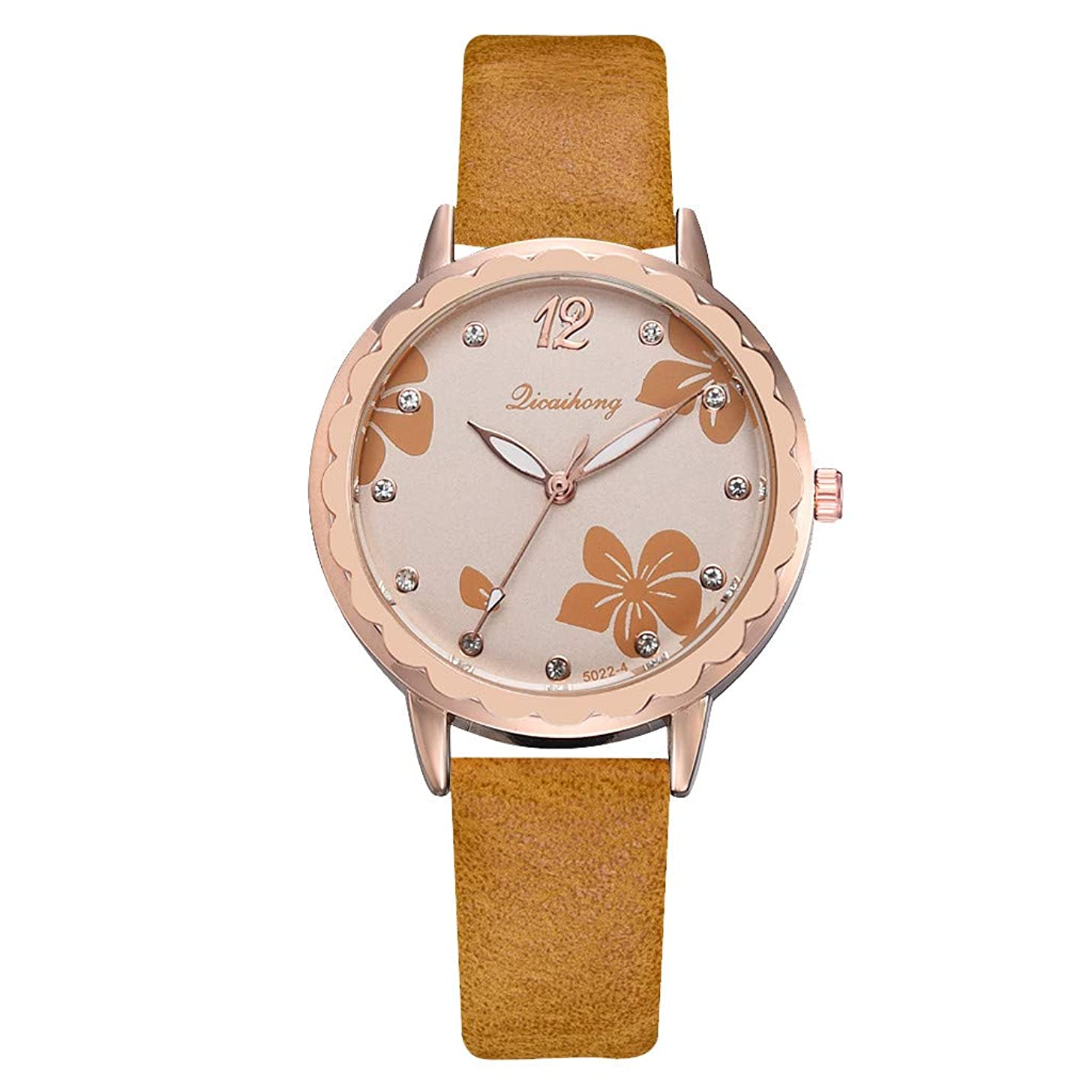 Womens Watch,LUCAMORE Unique Wristwatch Clearance Lady Watches on Sale Flower Diamond Dial Comfortable Leather Band