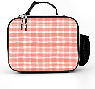 DuoduoBP Leather Insulated Pantone Living Coral 16-1546 Watercolor Plaid Paint Brush Strokes Lunch Box Bag,Leakproof Thermal Lunch Tote for Adult Kids,Lunch Cooler for Office Work Outdoor Picnic