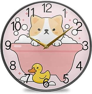 Chovy 掛け時計 サイレント 連続秒針 壁掛け時計 インテリア 置き時計 北欧 おしゃれ かわいい ネコ 猫 鴨 かも ピンク 可愛い かわいい 部屋装飾 子供部屋 プレゼント